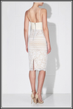 Valentina Midi Dress - Ivory / Nude