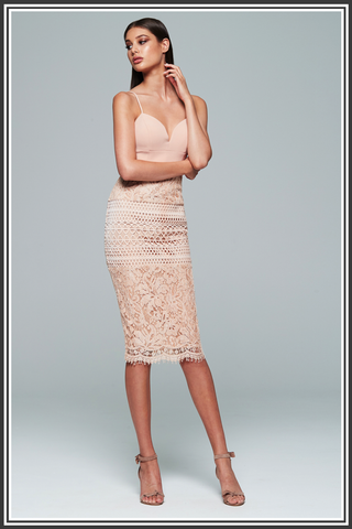 Valentina Midi Dress - Powder Pink / Nude