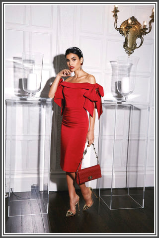 Nadine Merabi Victoria Dress in Red.