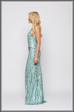 Bariano Laurel V-Neck Gown - Pistachio