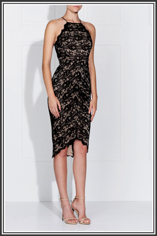 Lena Dress - Black / Nude