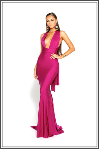 Portia and Scarlett Liliana Gown in Pink / Plum