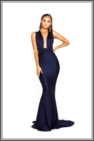 Portia & Scarlett Liliana Gown in Navy Blue