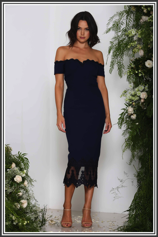 Ellie Zeitoune Navy Lace Dress