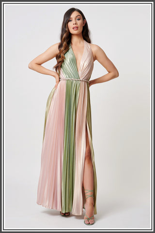 Forever Unique Marlo Halter-neck Maxi - Green / Pink