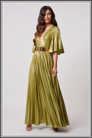 Forever Unique Misse Pleated Dress in Lime Green