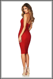 Mystic Mesh Halter Neck Midi - Red