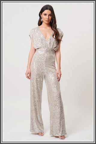 Forever Unique Malika Jumpsuit in Silver Sequin