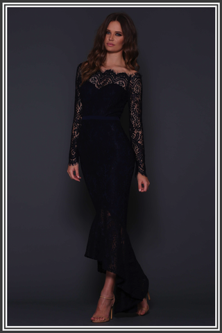 Marchesa Fishtail Dress - Navy