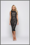Black Marigold Sequin Midi Dresses