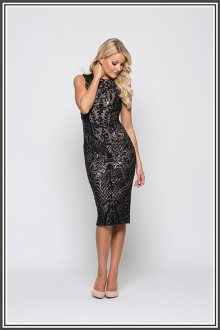 Black Marigold Sequin Midi Dress