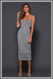 Elle Zeitoune Marley Midi Dress by Elle Zeitoune in Black / Grey