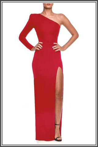 Red Mina Maxi Dress by Nadine Merabi