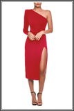 Mina Midi Dress by Nadine Merabi in Red