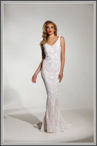 Empire Gown - White / Nude
