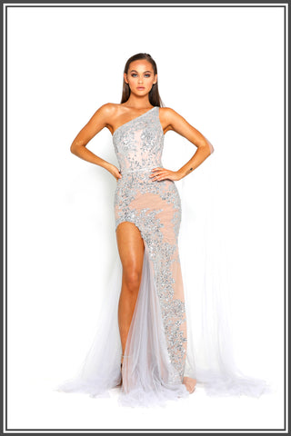 Portia and Scarlett Kayla Gown Silver Crystal