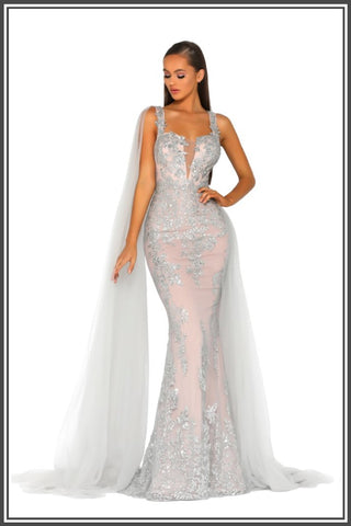 Lydia Gown - Silver / Nude