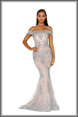 Portia and Scarlett Christy Gown in Silver / Nude