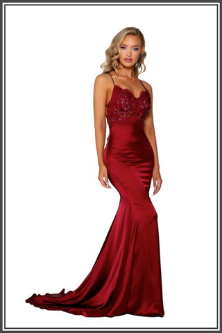 Cara Gown - Deep Red
