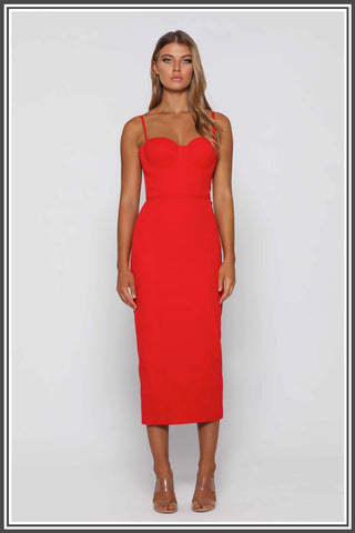 Penny Midi Dress by Elle Zeitoune in Red
