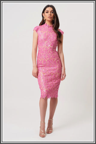Forever Unique Rivet Midi Dress in Fuchsia