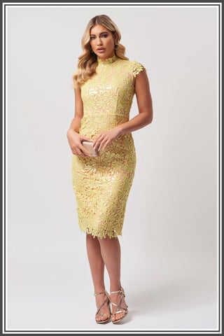 Forever Unique Rivet Midi Dress in Lime