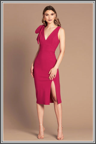 Milana Midi Dress in Magenta / Pink