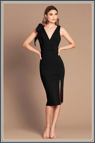 Milana Midi Dress in Black by Love Honor