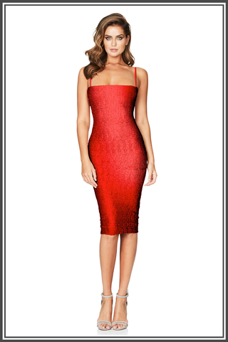 Nookie Red Starlet Strap Midi Dress