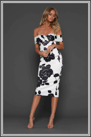 Skylar Midi Dress - Black / White Floral Print