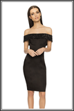 Victoria Sequin Off the Shoulder Dress - Black