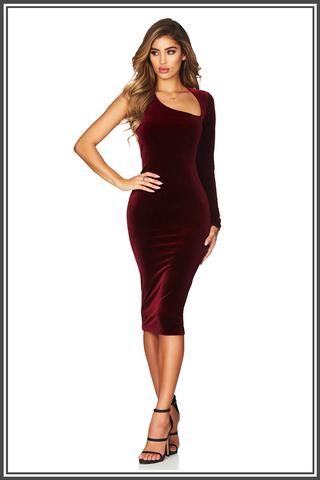 Nookie Voodoo Velvet Midi Dress Merlot