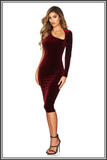 Nookie Voodoo Velvet Midi Dress Wine