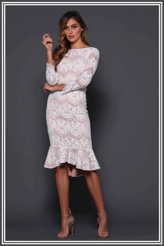 Elle Zeitoune Vanessa Midi Dress in Patterned White / Nude