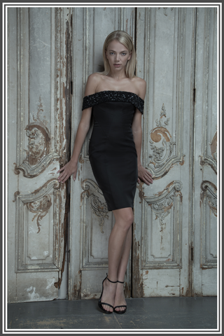 Aloura London - Victoria Dress Black Embellished Satin