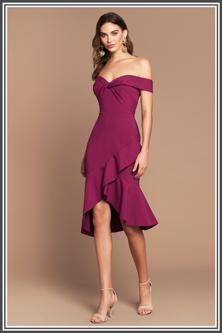 Viktoria Midi Ruffle Dress - Magenta