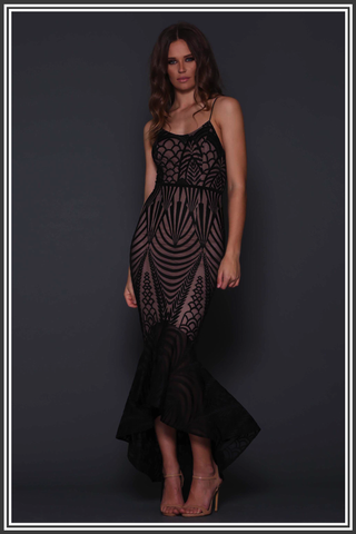 Zarla Fishtail Dress - Black and Nude