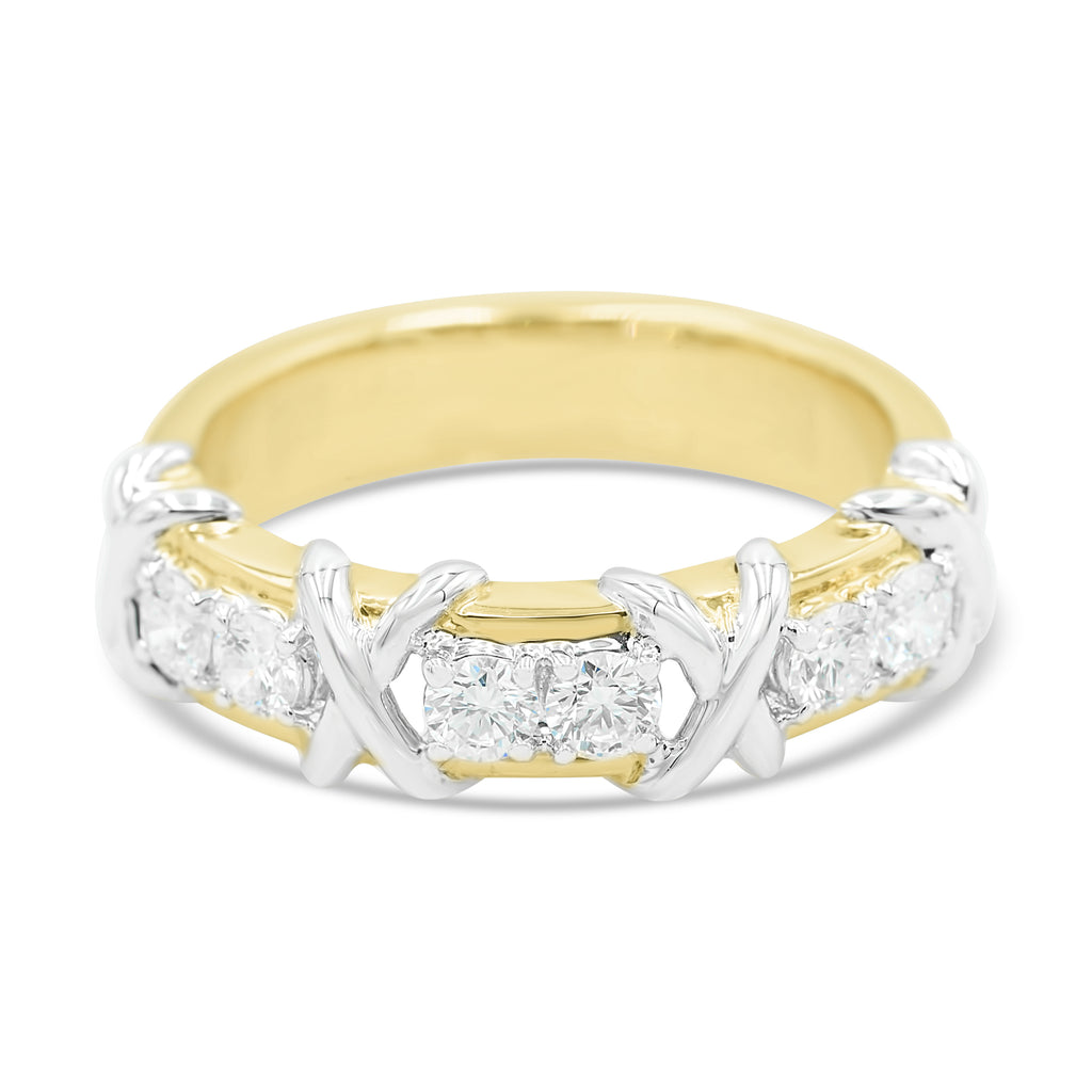 X Two Tone Diamond Ring