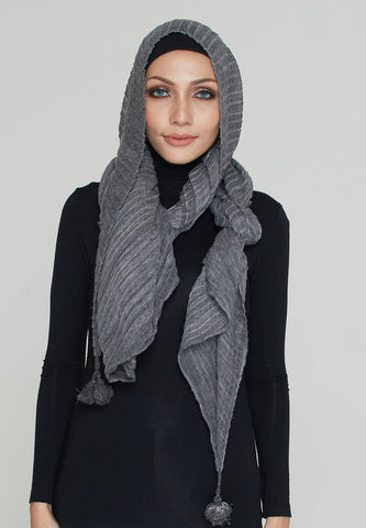 Cotton Tassel Scarf, Charcoal
