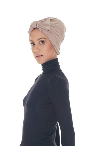 Instant Turban, Bow, Nude Beige