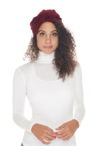 Instant Turban, Bow, Burgundy