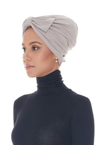 Instant Turban, Bow, Pastel Grey