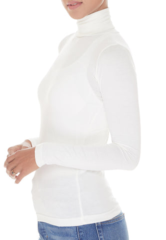 White Turtleneck, Long Sleeve
