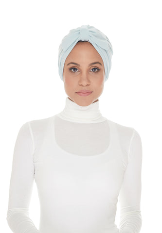 Instant Turban, Bow, Baby Blue
