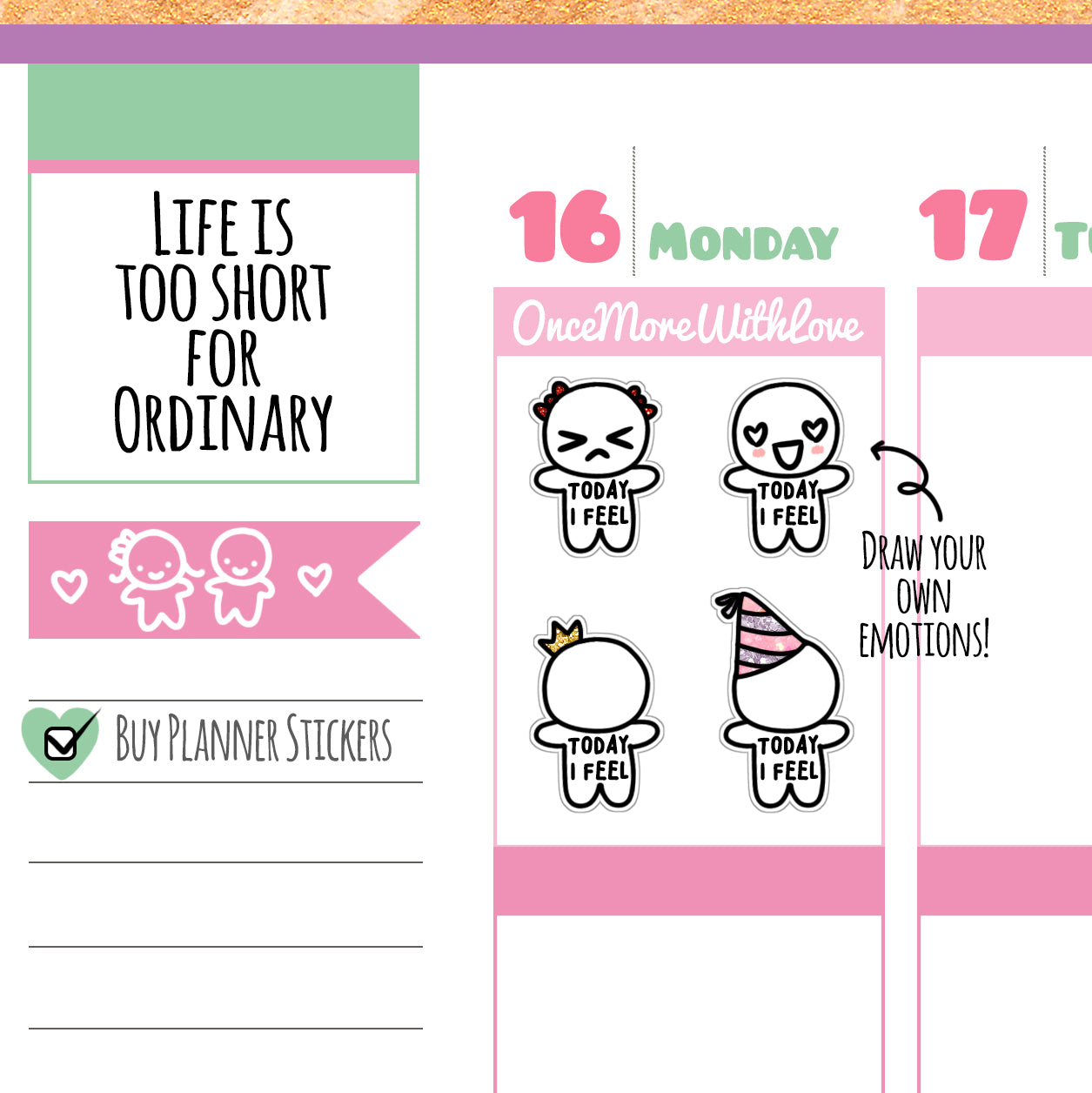 M02 - Today I Feel... Mood Tracker Munchkin Planner Stickers