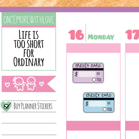 V93* - Credit Card Bill Payment Reminder Planner Stickers