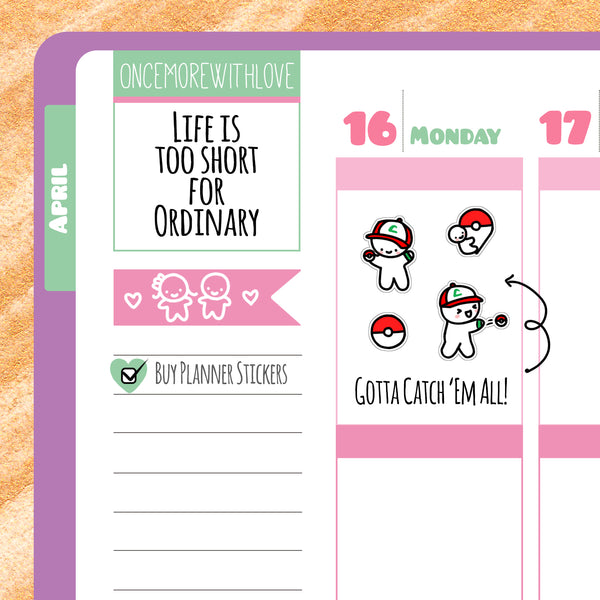 M151 - Gotta Catch 'Em All! Pokemon Munchkin Planner Stickers