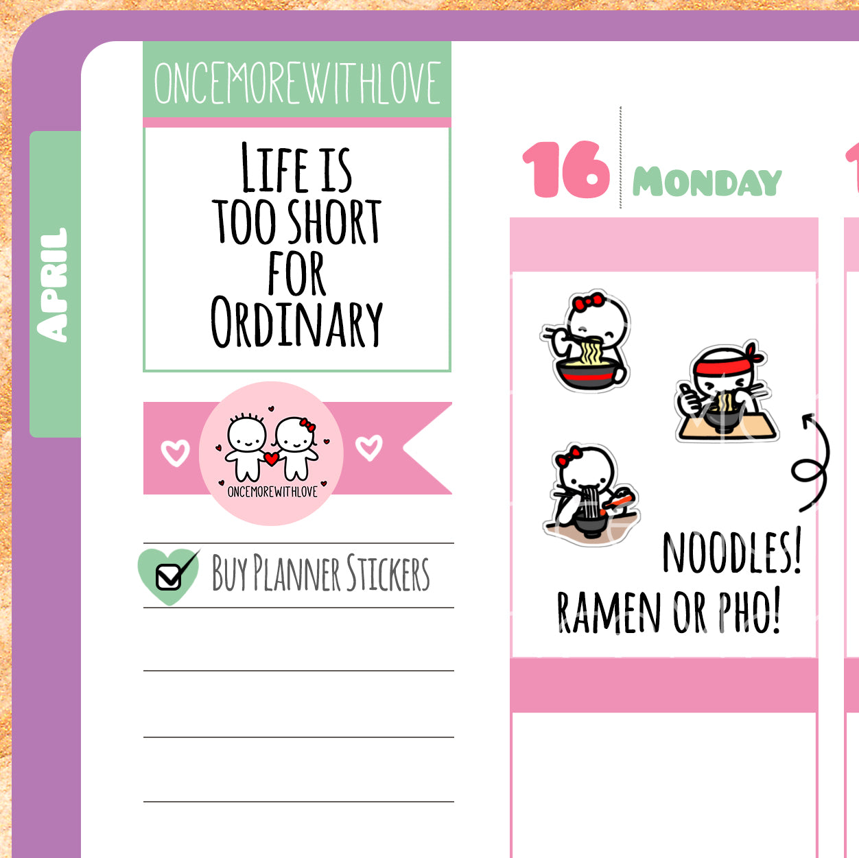 Munchkins - Ramen or Pho Noodle Lover Planner Stickers (M255)