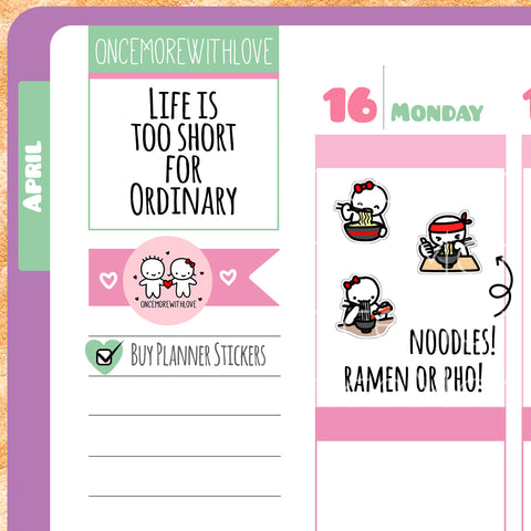 M255 - Ramen or Pho Noodle Lover Munchkin Planner Stickers (FINAL STOCK)