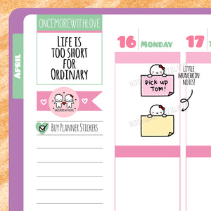 M290 - Peeking Munchkin Sticky Note Planner Stickers (FINAL STOCK)